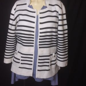🔔WHBM Black and White Open Cardigan Sweater